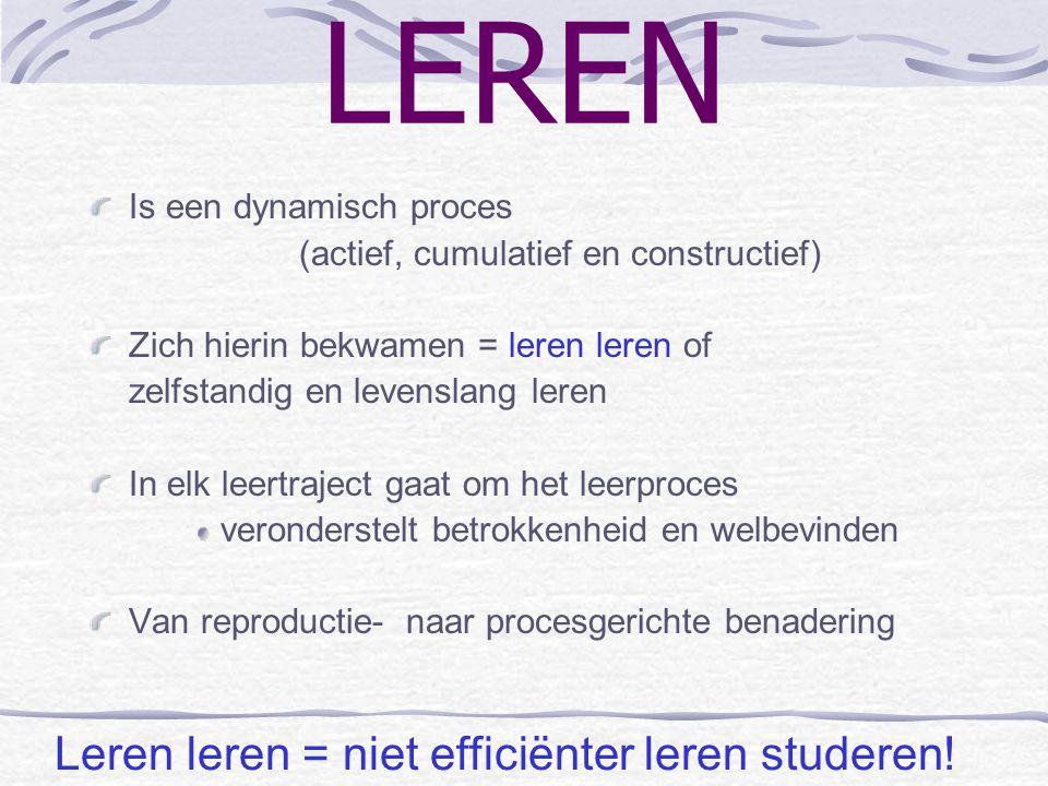 LEREN Leren leren = niet efficiënter leren studeren!