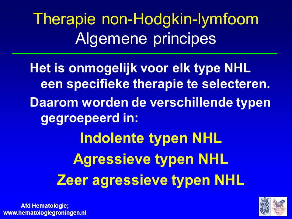 Therapie non-Hodgkin-lymfoom Algemene principes