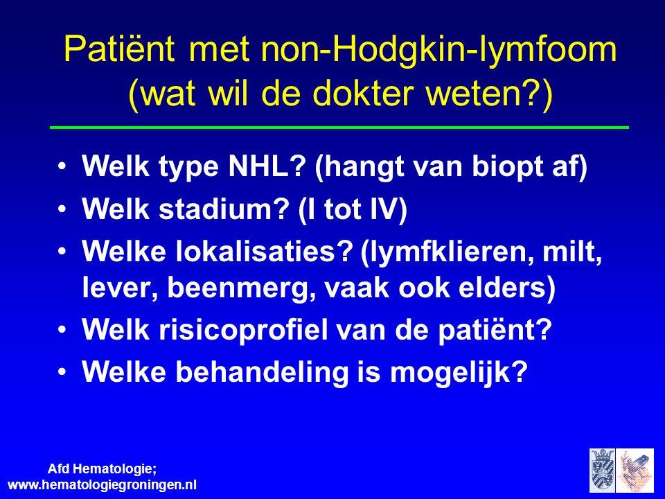 Patiënt met non-Hodgkin-lymfoom (wat wil de dokter weten )