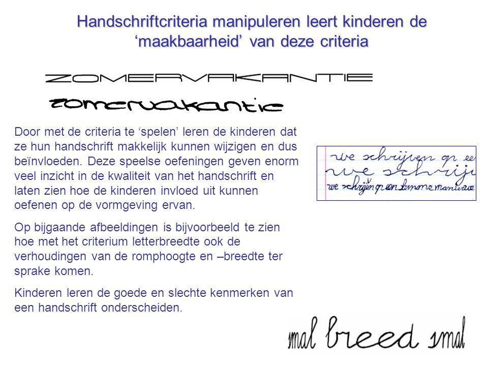 Handschriftcriteria manipuleren leert kinderen de 'maakbaarheid' van deze criteria