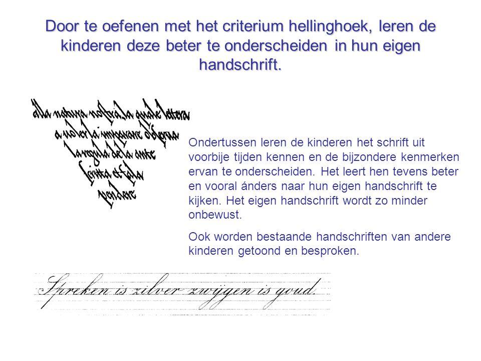 Door te oefenen met het criterium hellinghoek, leren de kinderen deze beter te onderscheiden in hun eigen handschrift.