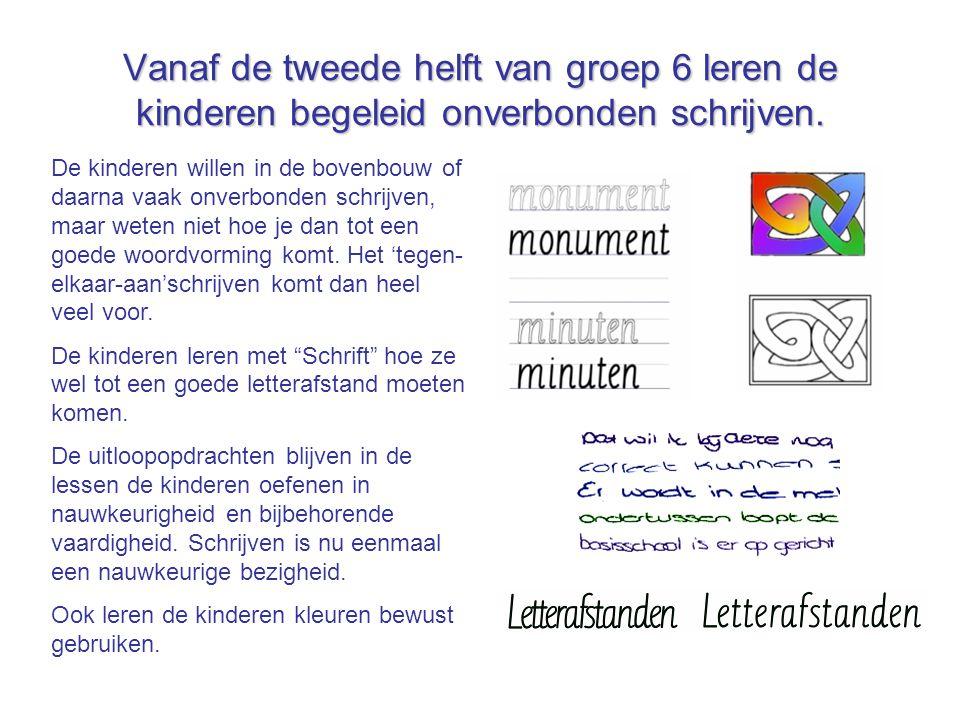 Vanaf de tweede helft van groep 6 leren de kinderen begeleid onverbonden schrijven.