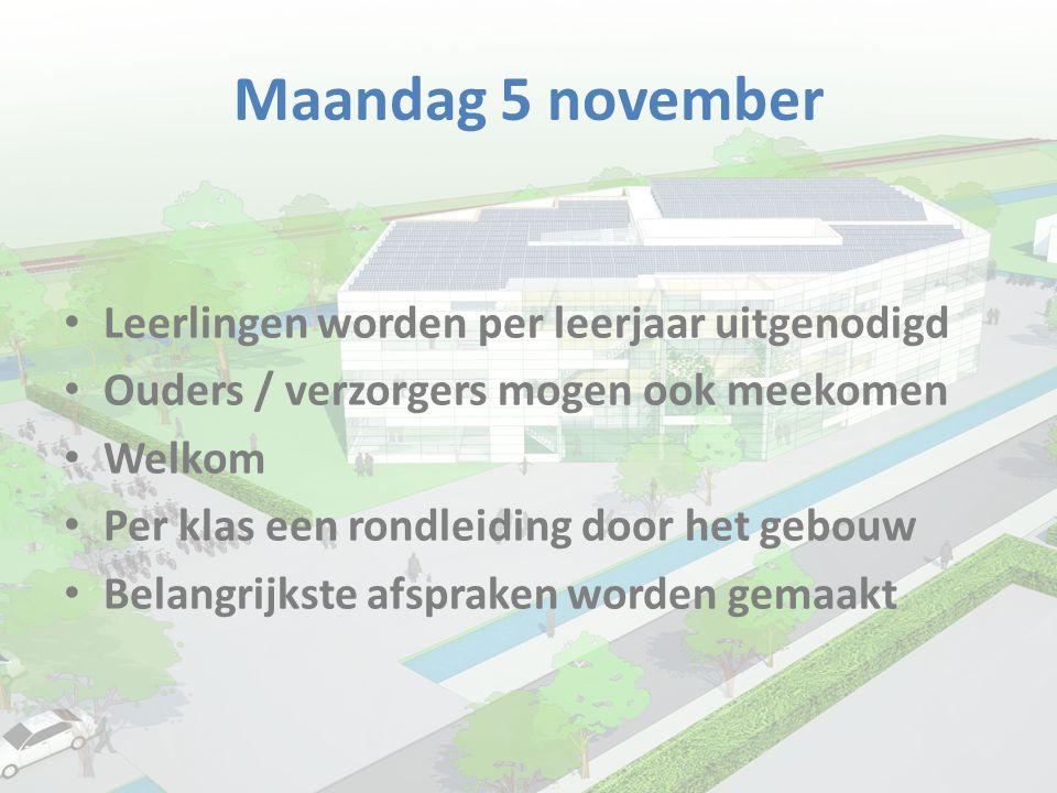Maandag 5 november Leerlingen worden per leerjaar uitgenodigd