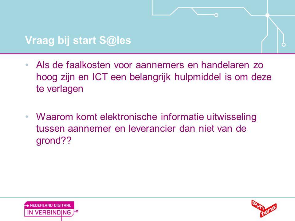 Vraag bij start S@les Als de faalkosten voor aannemers en handelaren zo hoog zijn en ICT een belangrijk hulpmiddel is om deze te verlagen.
