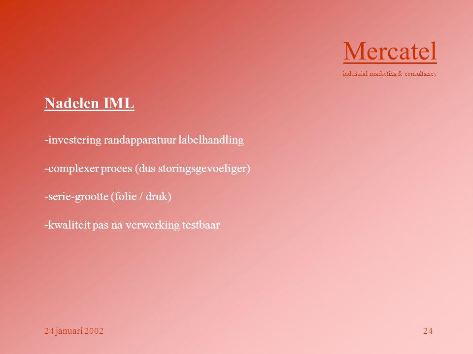 Mercatel Nadelen IML -investering randapparatuur labelhandling