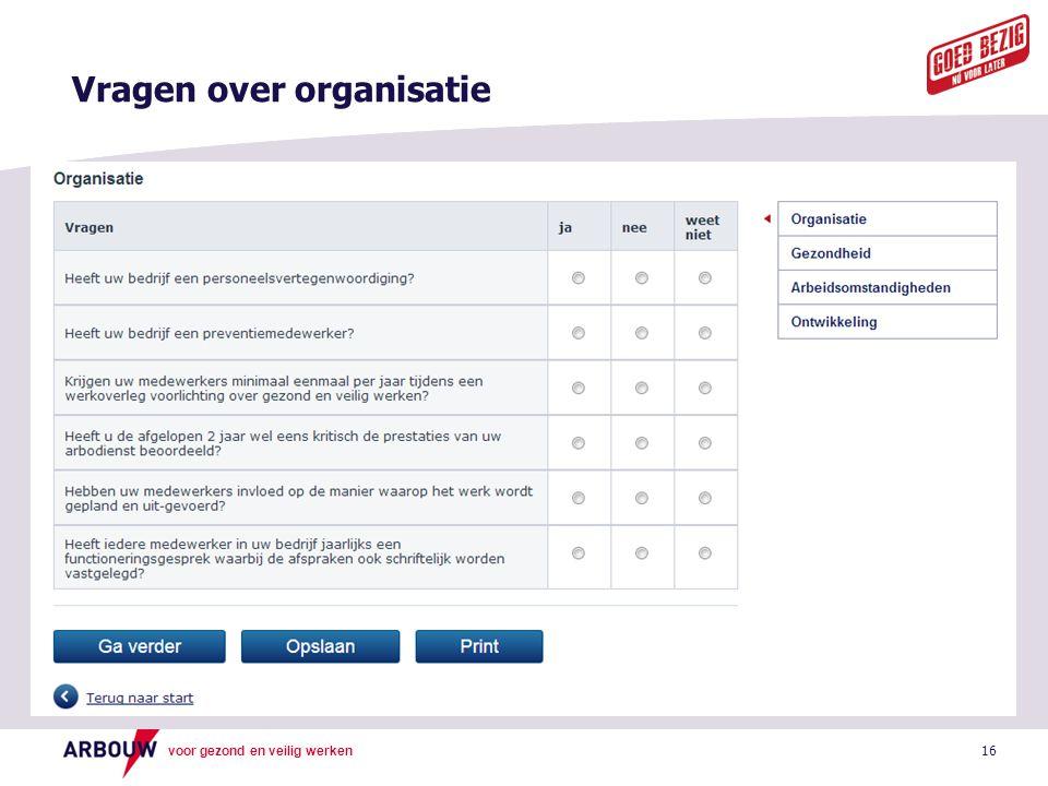 Vragen over organisatie