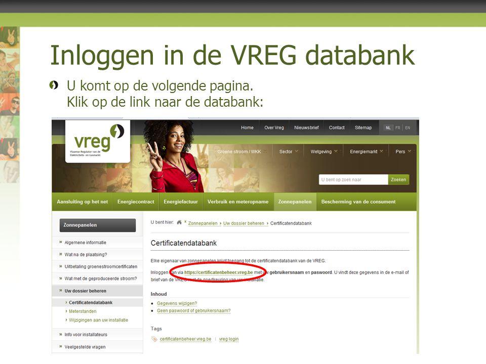 Inloggen in de VREG databank