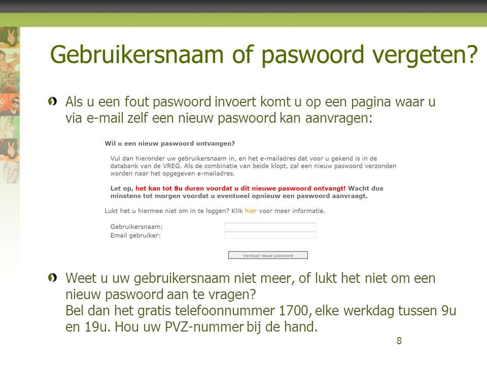 Gebruikersnaam of paswoord vergeten