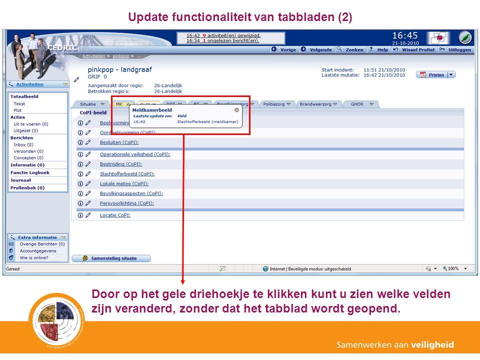 Update functionaliteit van tabbladen (2)