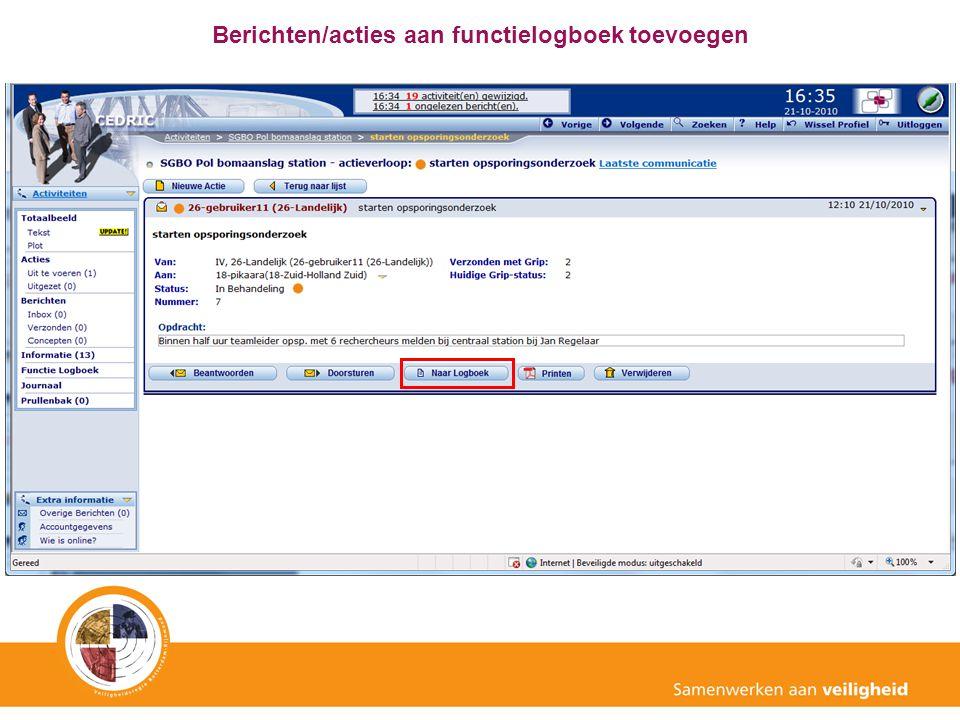 Berichten/acties aan functielogboek toevoegen