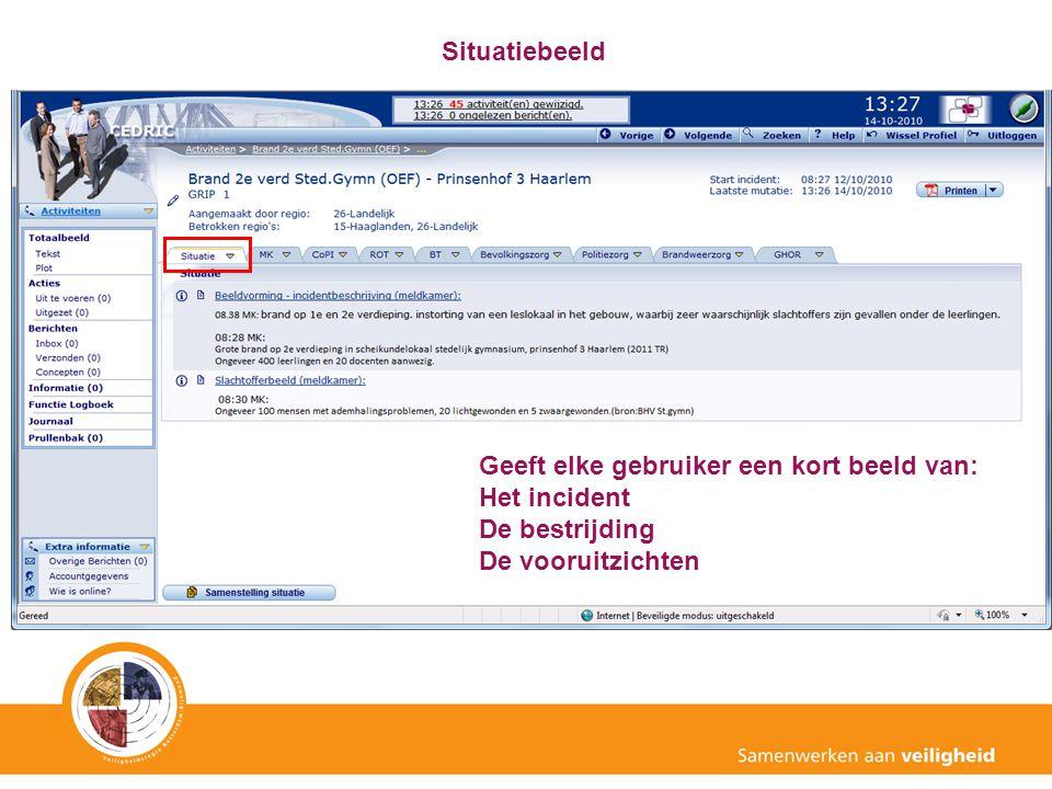 Situatiebeeld Geeft elke gebruiker een kort beeld van: Het incident.