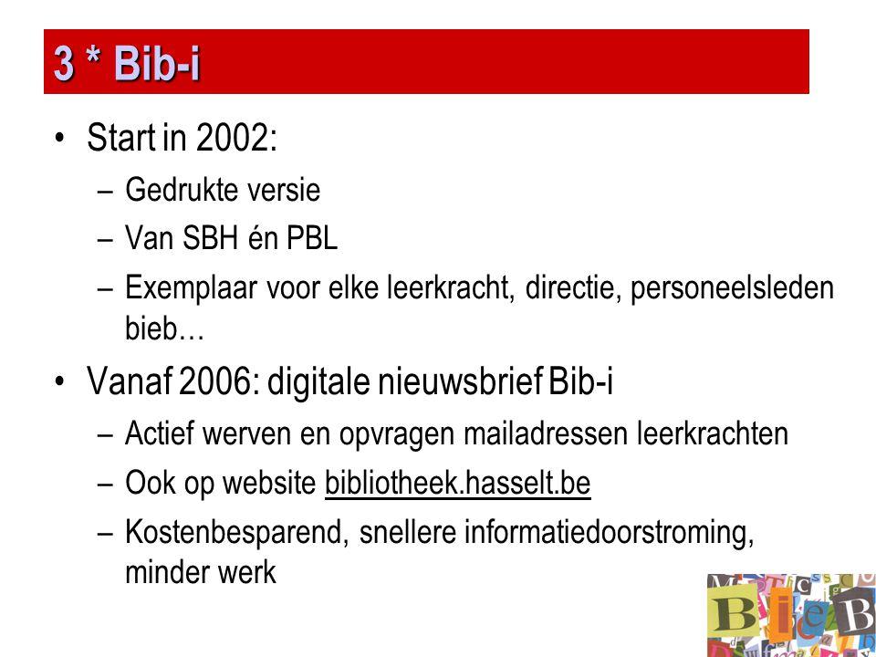 3 * Bib-i Start in 2002: Vanaf 2006: digitale nieuwsbrief Bib-i