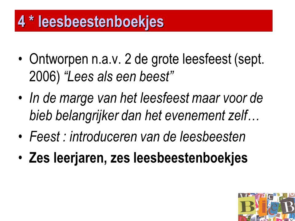 4 * leesbeestenboekjes Ontworpen n.a.v. 2 de grote leesfeest (sept. 2006) Lees als een beest
