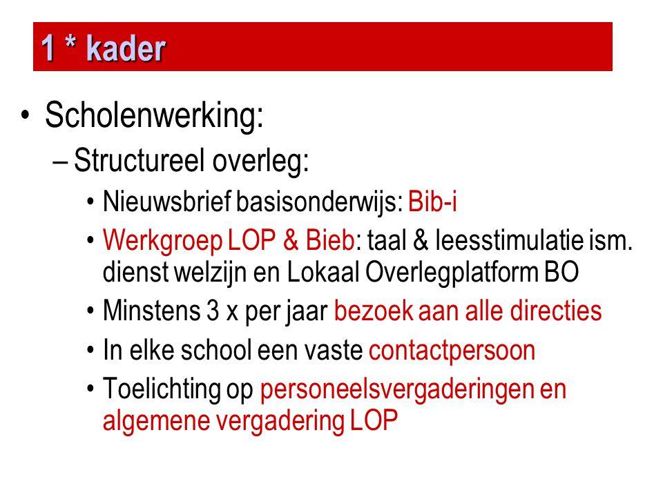 1 * kader Scholenwerking: Structureel overleg: