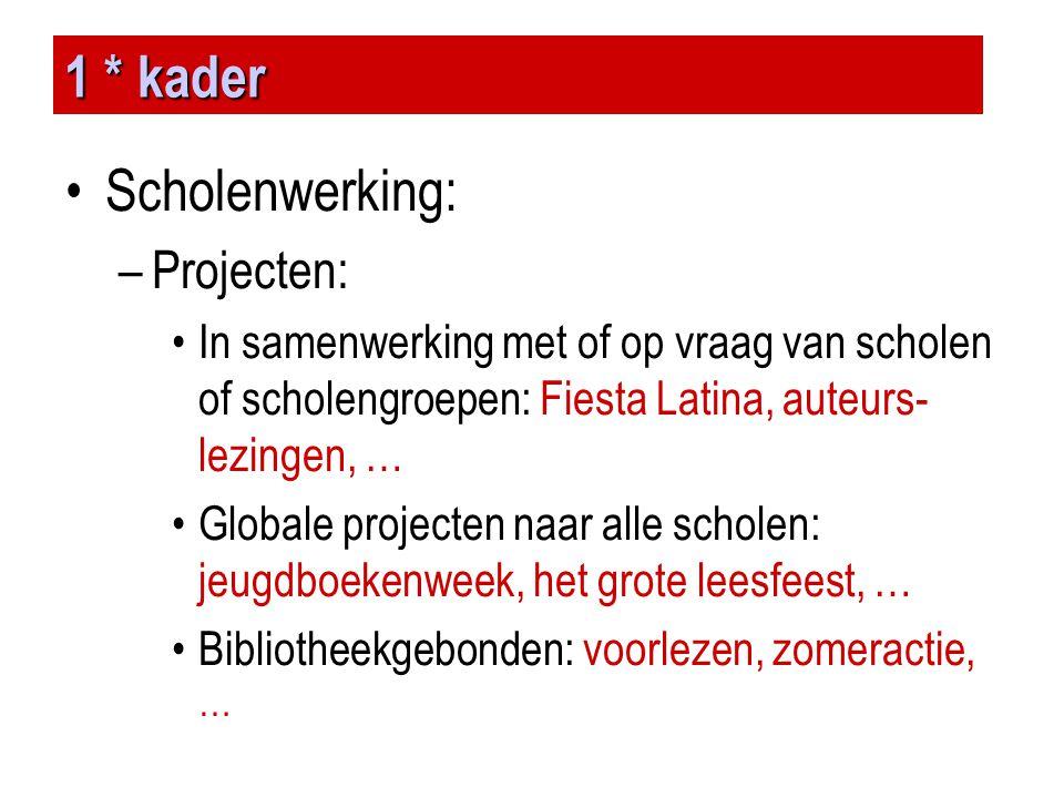 1 * kader Scholenwerking: Projecten: