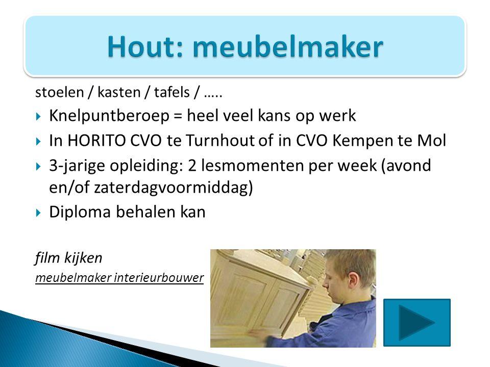 Hout: meubelmaker Knelpuntberoep = heel veel kans op werk