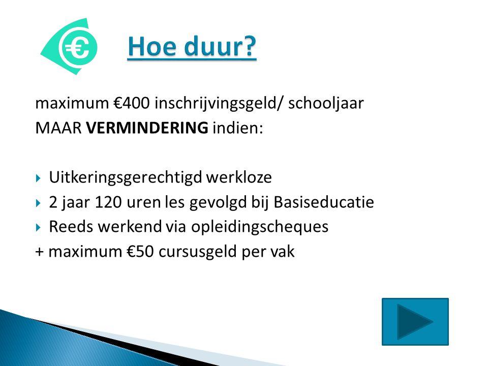 Hoe duur maximum €400 inschrijvingsgeld/ schooljaar