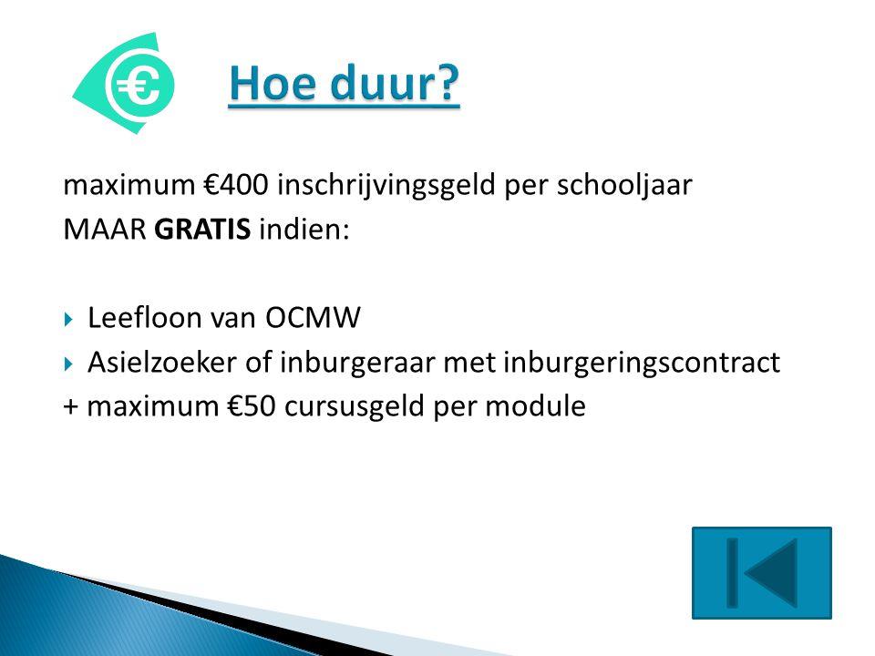 Hoe duur maximum €400 inschrijvingsgeld per schooljaar