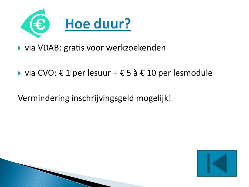 Hoe duur via VDAB: gratis voor werkzoekenden