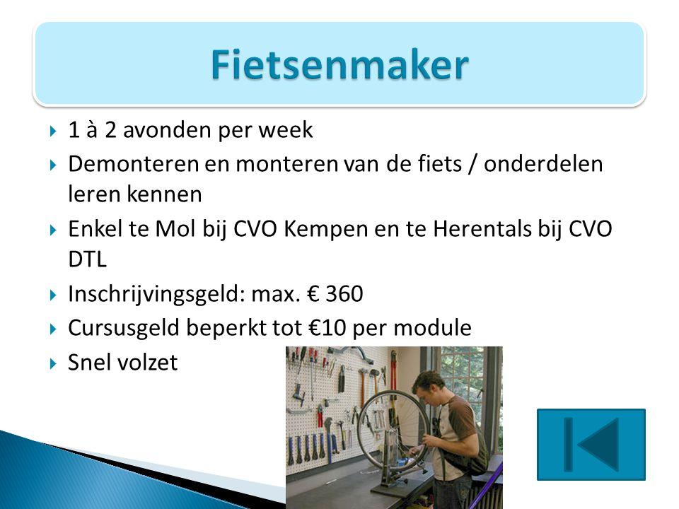 Fietsenmaker 1 à 2 avonden per week