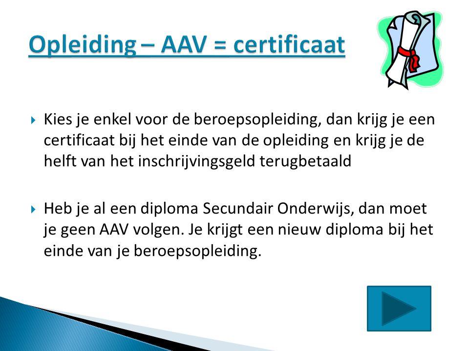 Opleiding – AAV = certificaat