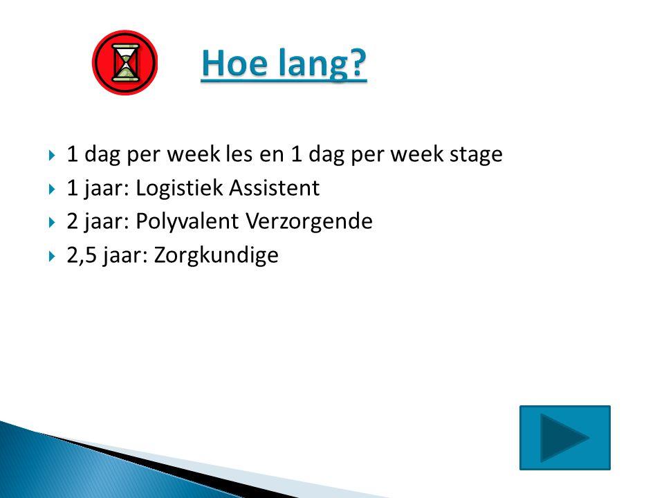 Hoe lang 1 dag per week les en 1 dag per week stage