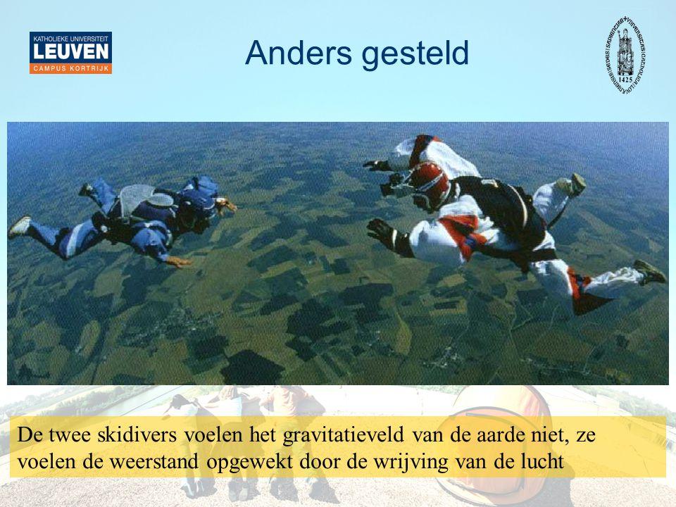 Anders gesteld De twee skidivers voelen het gravitatieveld van de aarde niet, ze voelen de weerstand opgewekt door de wrijving van de lucht.