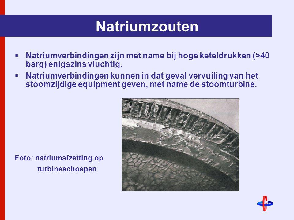 Natriumzouten Natriumverbindingen zijn met name bij hoge keteldrukken (>40 barg) enigszins vluchtig.