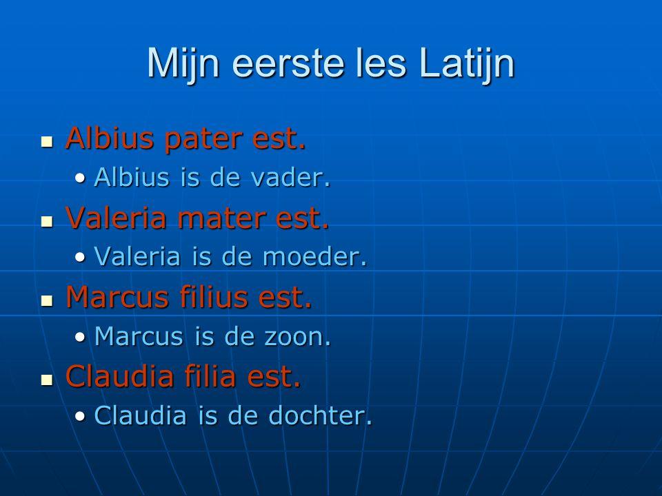 Mijn eerste les Latijn Albius pater est. Valeria mater est.