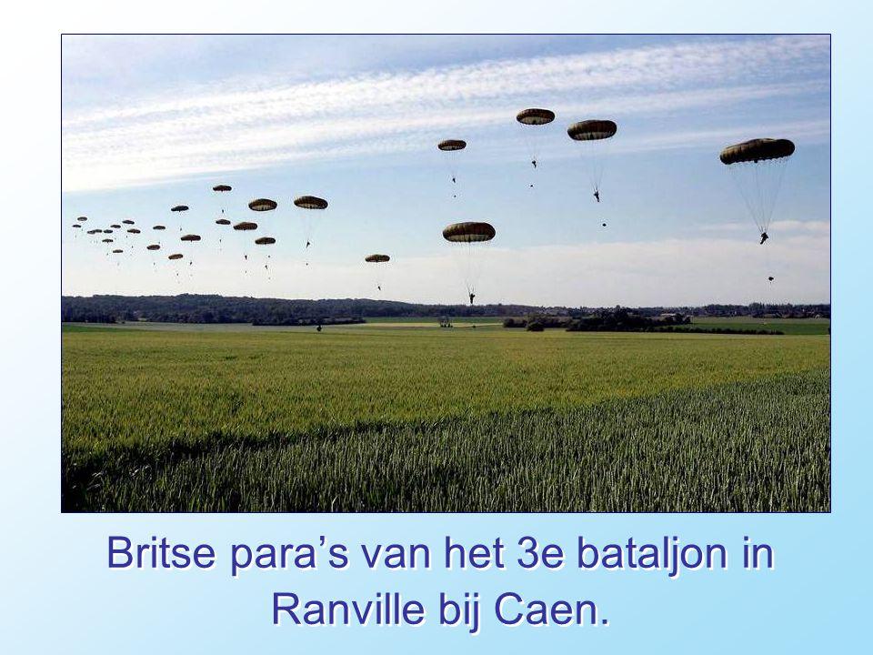 Britse para's van het 3e bataljon in Ranville bij Caen.
