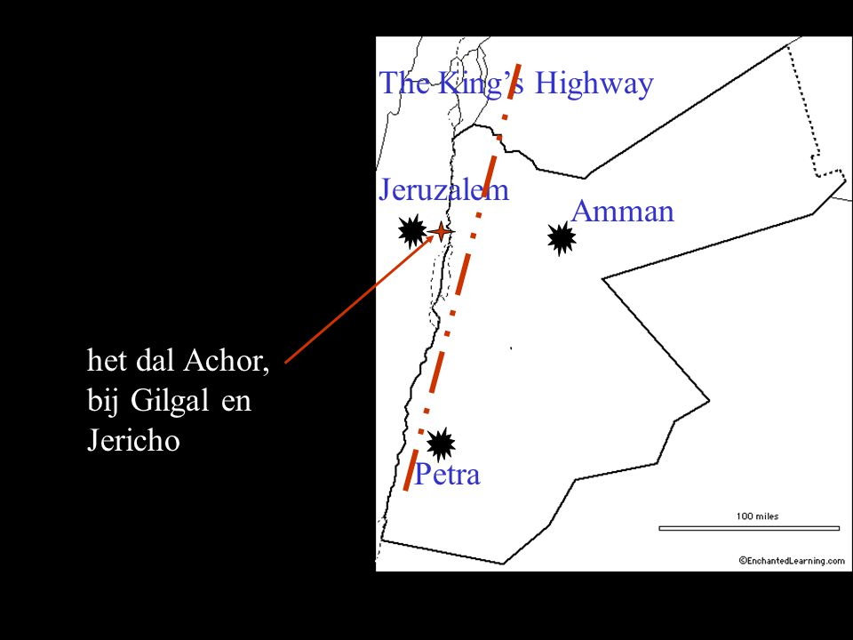 The King's Highway Jeruzalem Amman het dal Achor, bij Gilgal en Jericho Petra
