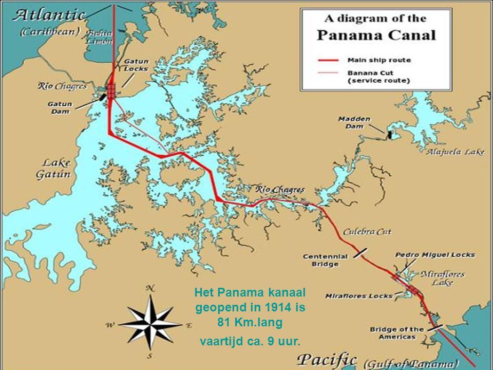 Het Panama kanaal geopend in 1914 is 81 Km.lang