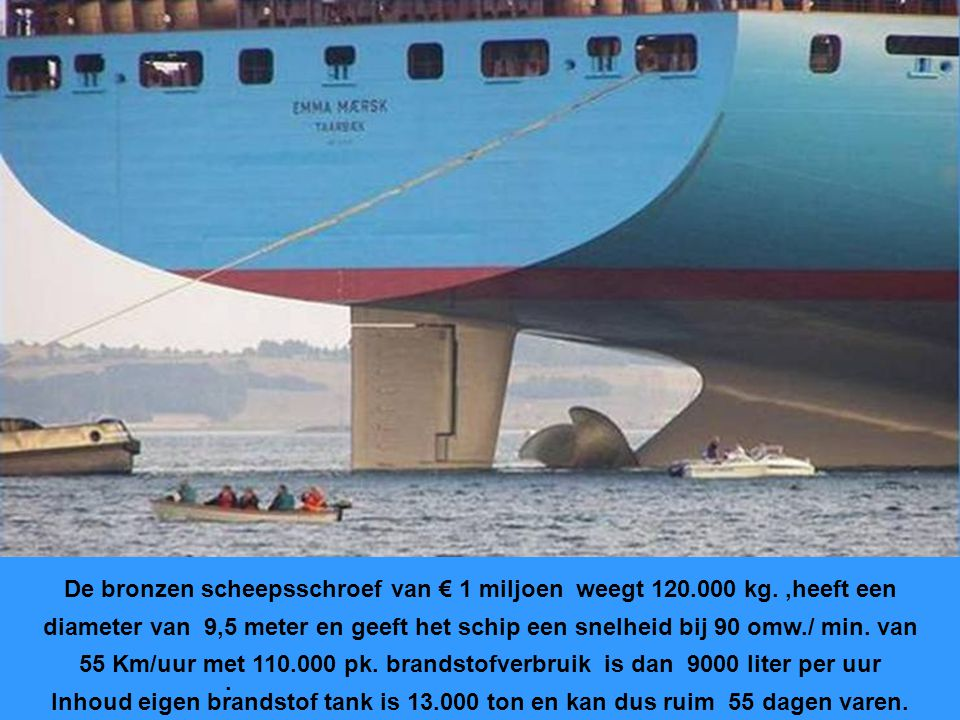 De bronzen scheepsschroef van € 1 miljoen weegt 120.000 kg. ,heeft een