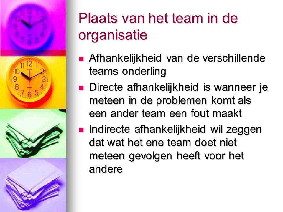 Plaats van het team in de organisatie
