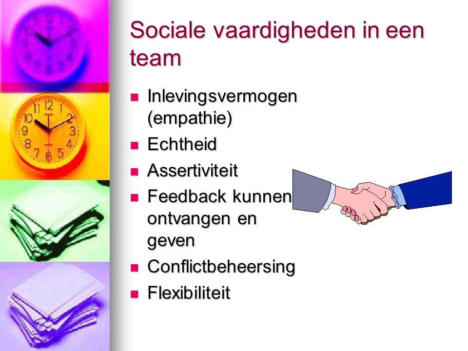 Sociale vaardigheden in een team