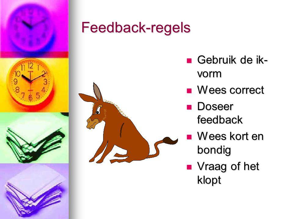 Feedback-regels Gebruik de ik-vorm Wees correct Doseer feedback
