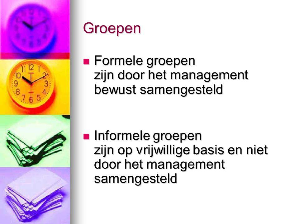Groepen Formele groepen zijn door het management bewust samengesteld