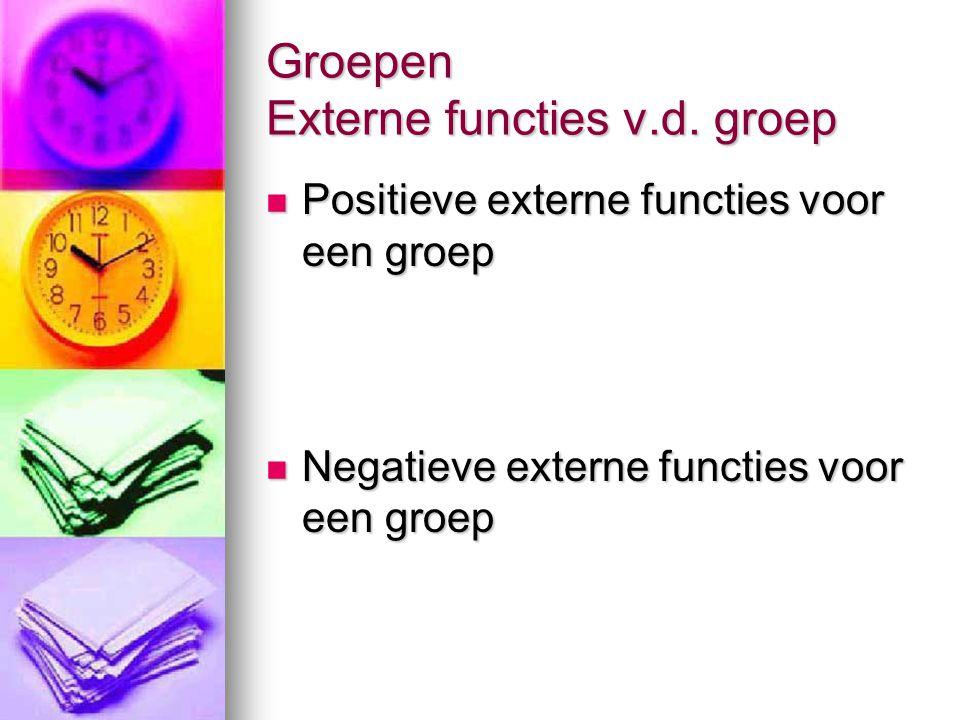 Groepen Externe functies v.d. groep