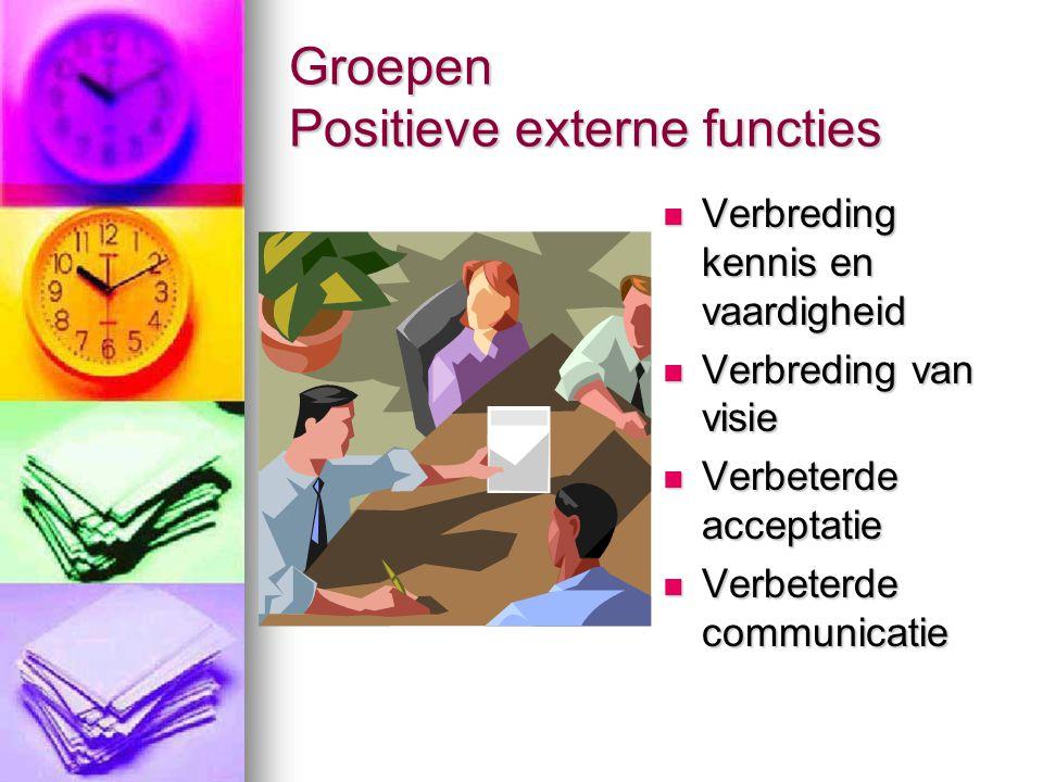 Groepen Positieve externe functies
