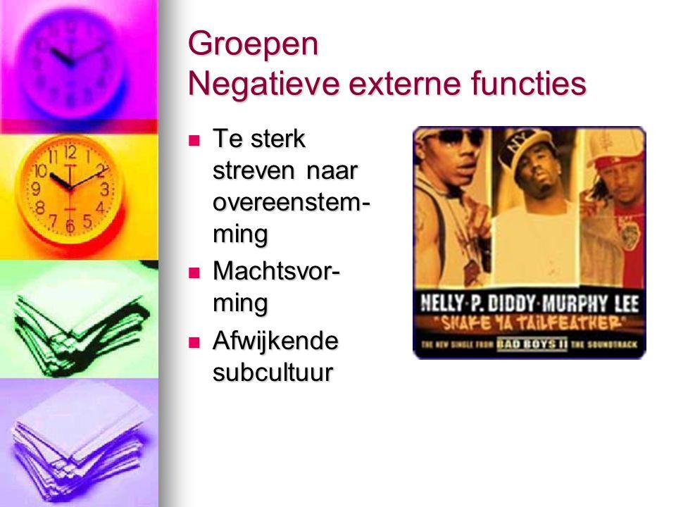 Groepen Negatieve externe functies