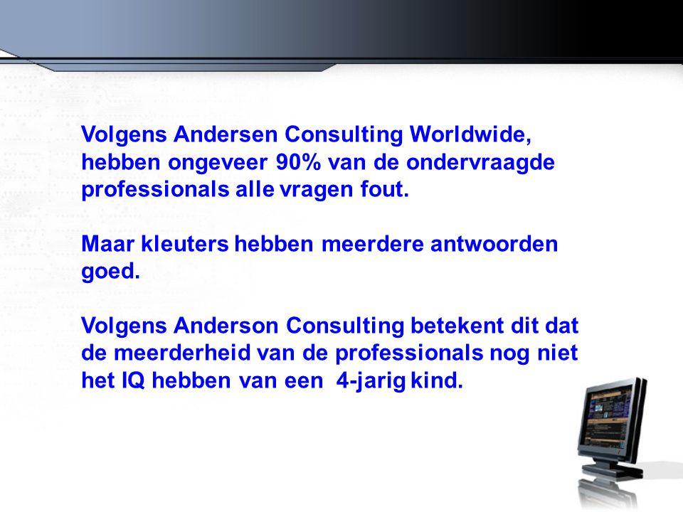 Volgens Andersen Consulting Worldwide, hebben ongeveer 90% van de ondervraagde professionals alle vragen fout.