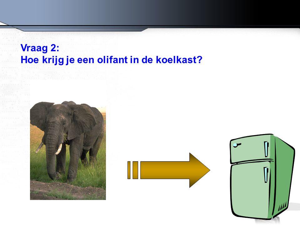 Vraag 2: Hoe krijg je een olifant in de koelkast