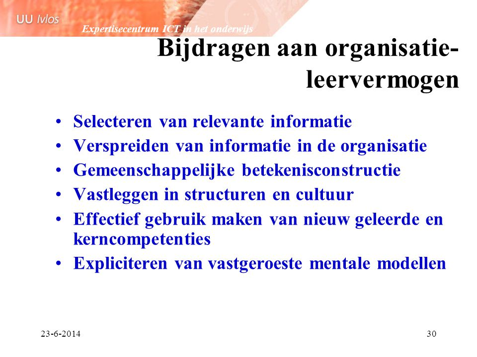 Bijdragen aan organisatie-leervermogen