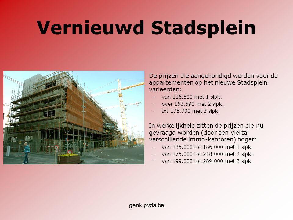 Vernieuwd Stadsplein De prijzen die aangekondigd werden voor de appartementen op het nieuwe Stadsplein varieerden: