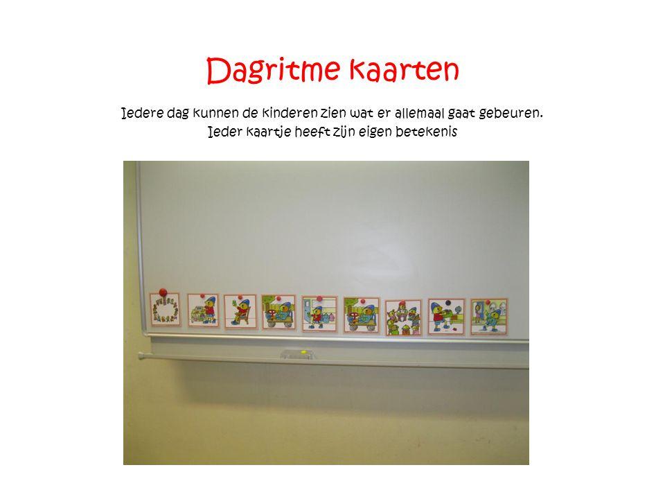 Dagritme kaarten Iedere dag kunnen de kinderen zien wat er allemaal gaat gebeuren.