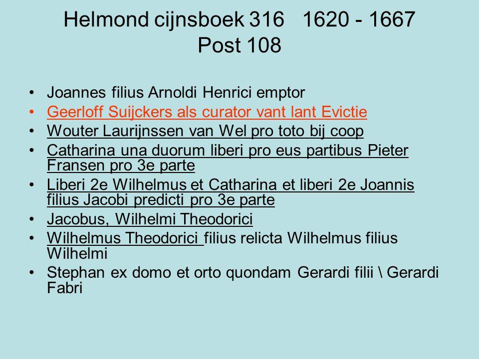 Helmond cijnsboek 316 1620 - 1667 Post 108