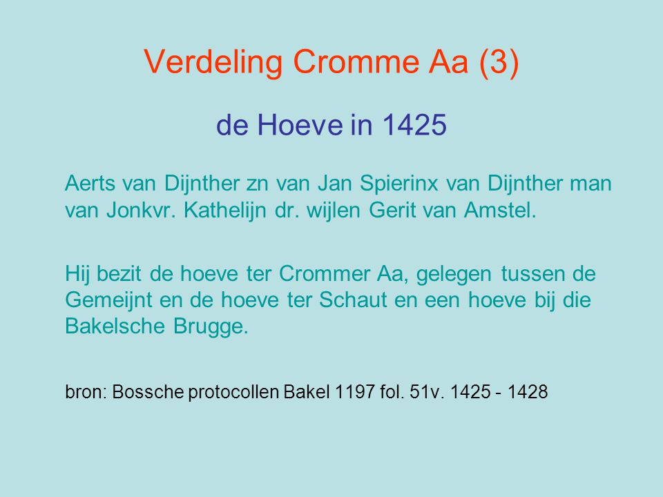 Verdeling Cromme Aa (3) de Hoeve in 1425