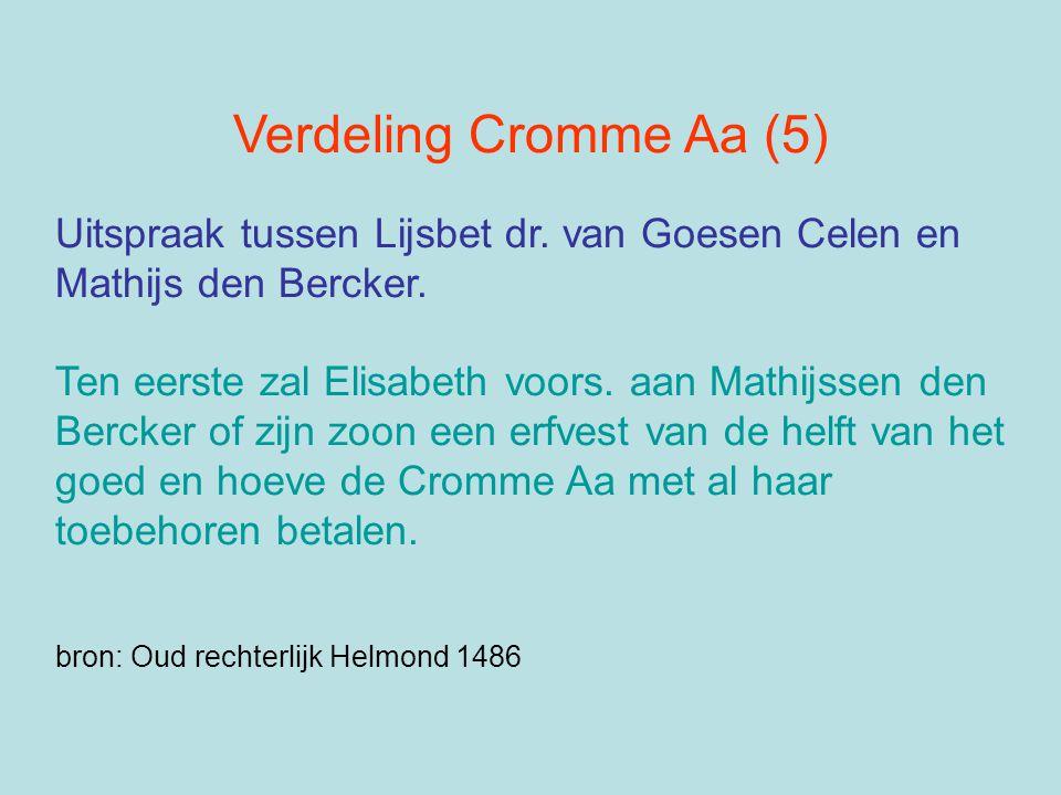 Verdeling Cromme Aa (5) Uitspraak tussen Lijsbet dr. van Goesen Celen en. Mathijs den Bercker. Ten eerste zal Elisabeth voors. aan Mathijssen den.