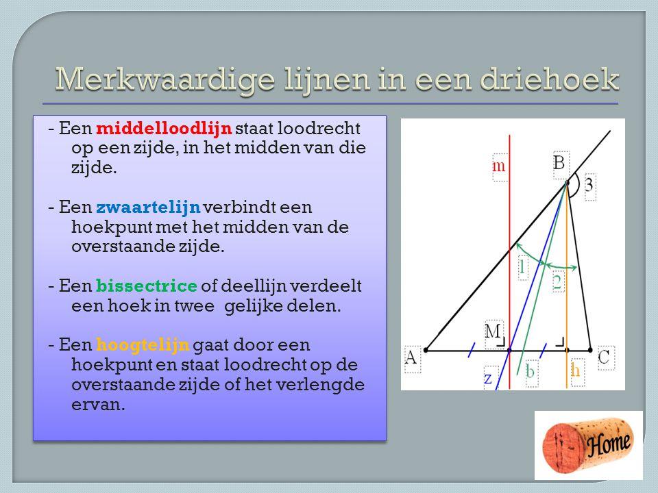 Merkwaardige lijnen in een driehoek