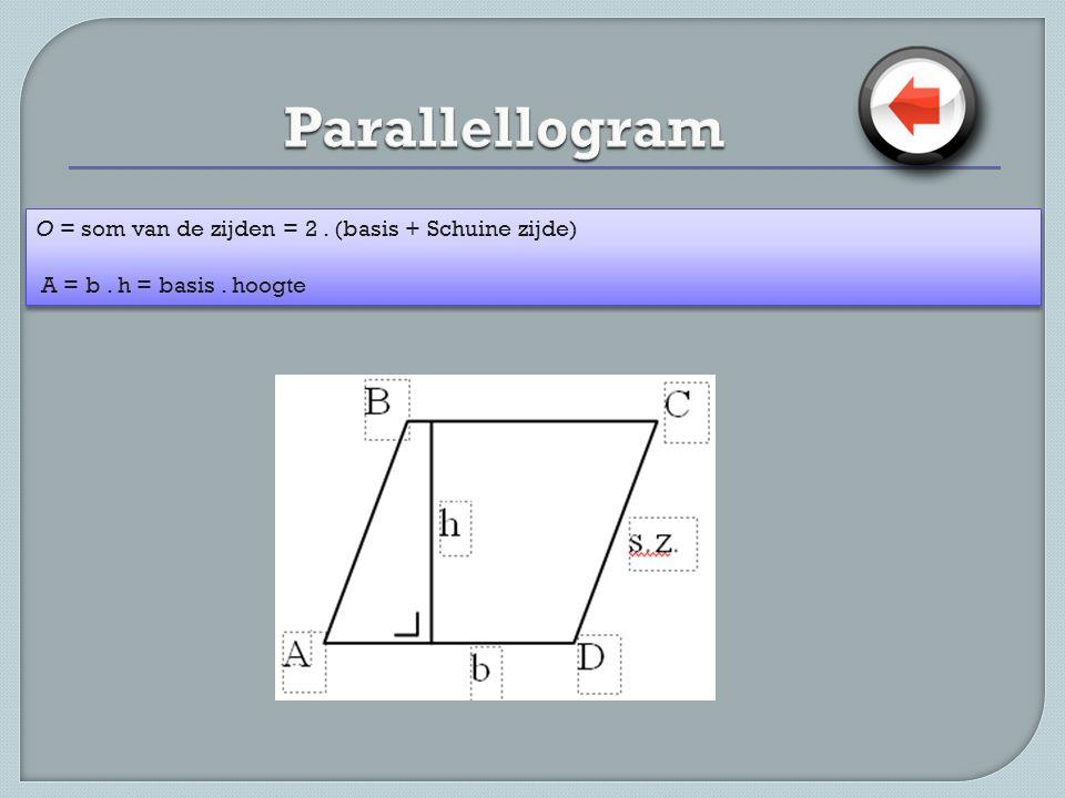 Parallellogram O = som van de zijden = 2 . (basis + Schuine zijde)